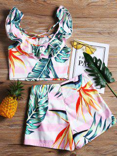 Ensemble Top Et Short Criss Cross Tropical Ruffles - Blanc M