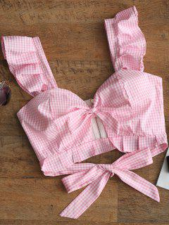 Ruffle Cut Out Plaid Tank Top - Pink L
