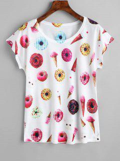 Camiseta Con Estampado De Helado Con Cuello Redondo - Blanco