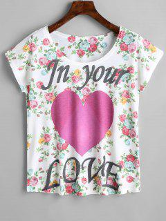 Letter Heart Floral Print Tee - Floral