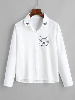 Chemise Boutonnée à Chat - Blanc