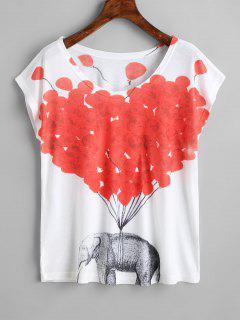 Camiseta Con Estampado De Elefante Y Estampado De Elefantes - Blanco