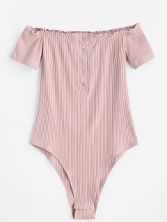 Knitted Snap Button Off Shoulder Bodysuit - Pink S
