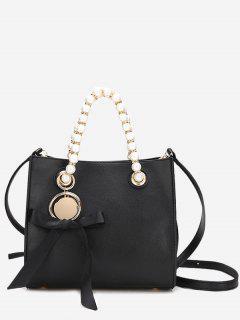 Faux Pearl Eyelet Bowknot Handbag - Black