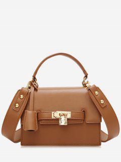 Metal Flap Crossbody Bag With Handle - Brown
