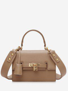 Metal Flap Crossbody Bag With Handle - Khaki