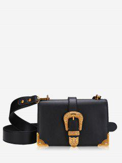 Buckle Strap Metal Corner Corssbody Bag - Black