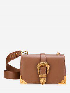 Buckle Strap Metal Corner Corssbody Bag - Brown