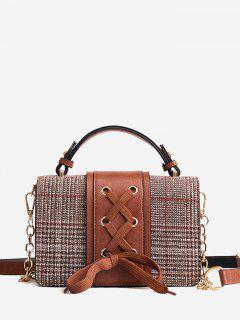 Criss Cross Crossbody Bag With Handle - Brown