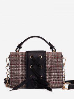 Criss Cross Crossbody Bag With Handle - Black