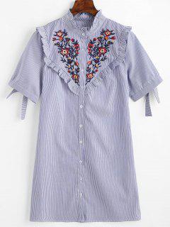 Vestido Con Volantes A Rayas Y Volantes Con Parches Florales - Azul L