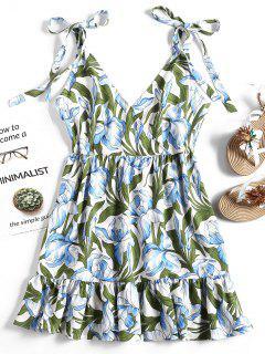 Floral Print High Waist Ruffles Dress - Floral S