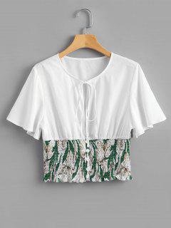 Smocked Floral Crop Bowtie Blouse - White L