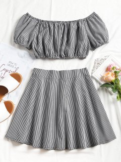 Plaid Off Shoulder Top Y Mini Skirt Set - Negro M