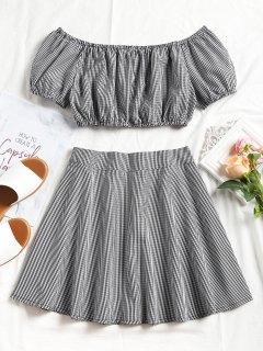 Plaid Off Shoulder Top Y Mini Skirt Set - Negro Xl