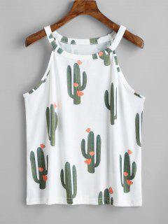 Cacti Print Round Neck Tank Top - White L