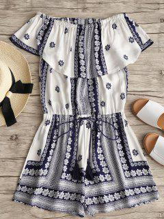 Off Shoulder Floral Print Tassels Romper - White M