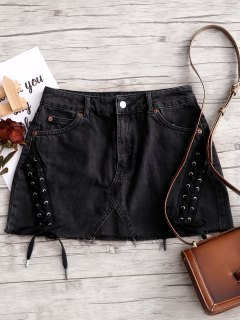 Zip Fly Lace Up Denim Mini Skirt - Dark Gray Xl