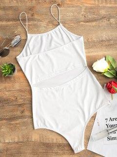 Body Cami Sans Manches à Découpes - Blanc L