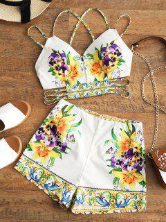 Ausschnitt Criss Cross Top Und Floral Shorts Set - Blumen L