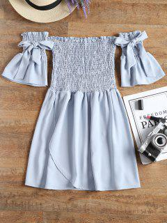 Off Shoulder Smocked Mini Dress - Charm S