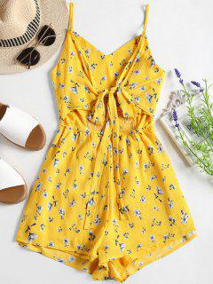 Smocked Cut Out Floral Cami Romper - Yellow S