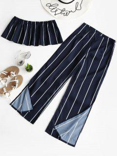 Striped Strapless Top And Slit Pants Set - Purplish Blue S