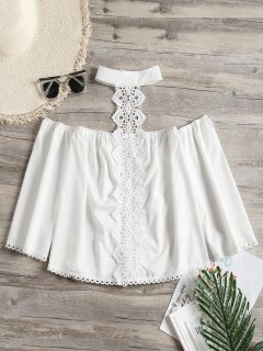 Crochet Panel Eyelet Choker Top - White S