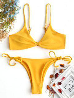 Cami Twist Front String Bikini Set - Ingwer-gelb S