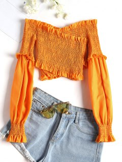 Overlap Shirred Off Shoulder Top - Orange Yellow