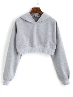 Cropped Eyelet Figure Patch Hoodie - Gray M