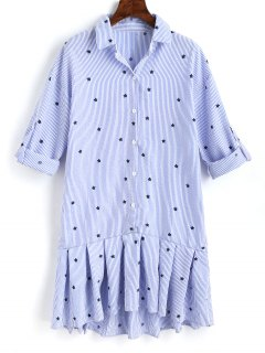 Star Ruffle Stripes Shirt Dress - Light Blue L