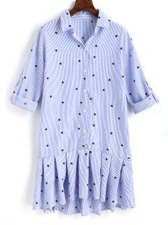 Vestido De La Camisa De La Raya Del Volante De La Estrella - Azul Claro L