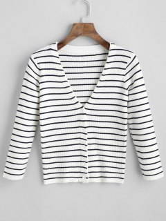 V Neck Button Up Stripes Cardigan - White And Black S