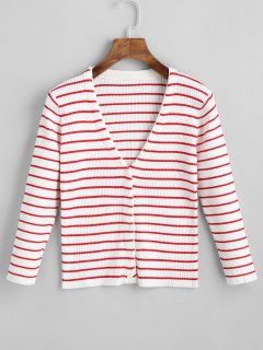 V Neck Button Up Stripes Cardigan - Red And White S