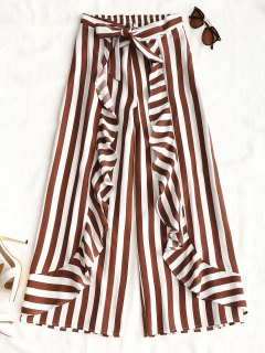 Ruffles Stripes Wide Leg Pants - Stripe L