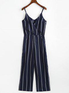 Striped Surplice Cami Jumpsuit - Purplish Blue S