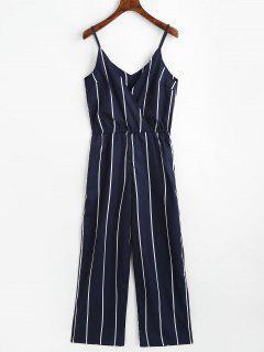 Striped Surplice Cami Jumpsuit - Purplish Blue L