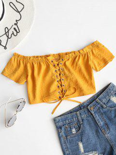Schulterfreie Rüschen Schnürung Bluse - Khaki S