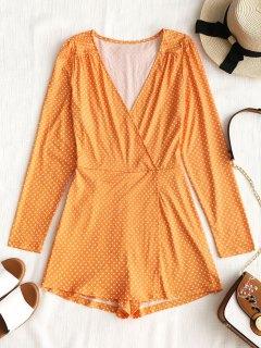 Long Sleeve Overlap Polka Dot Romper - Orange Yellow M