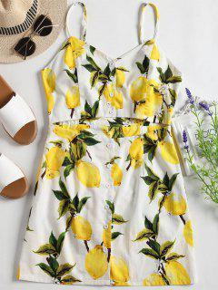 Robe Découpée à Imprimé Citron à Bretelles - Blanc M
