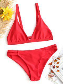 Lader Schlitz Cami Geraffter Bikini - Rot M
