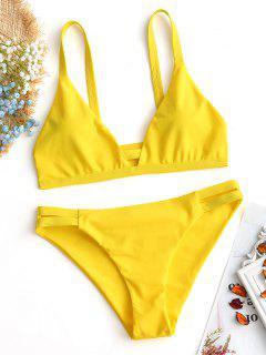 Lader Schlitz Cami Geraffter Bikini - Gelb S
