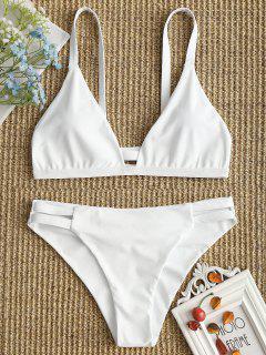 Ladder Cut Cami Ruched Bikini - White Xl