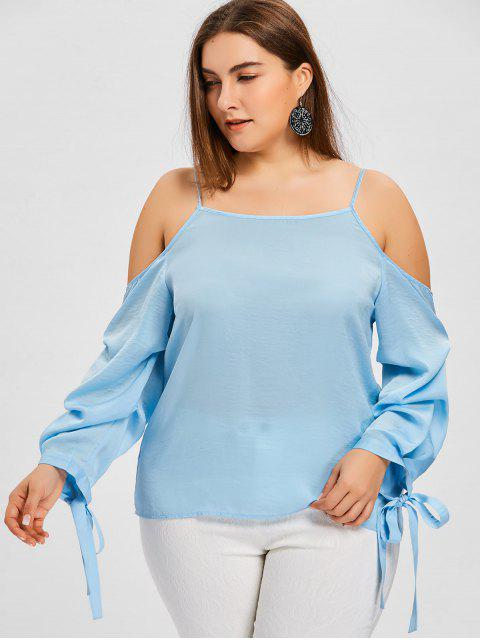 new Plus Size Tie Sleeve Spaghetti Strap Blouse - LIGHT BLUE 3XL Mobile