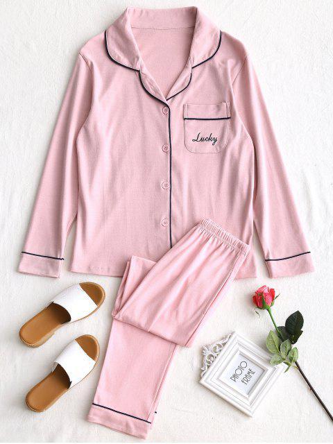 Baumwolle Lucky Grafik Pyjama Set - Pink L Mobile