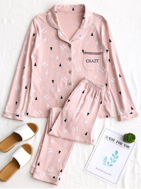 online Stenciling Cotton Pajamas Set - PINK L Mobile