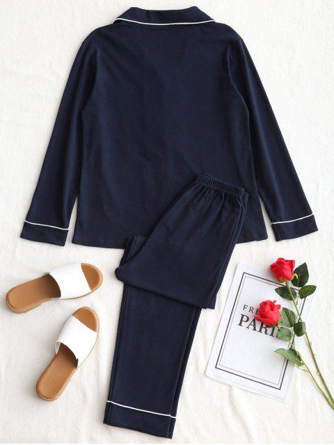 hot Cotton Lucky Graphic Pajamas Set - PURPLISH BLUE XL Mobile