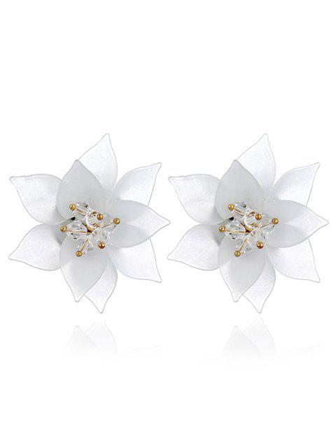 Pendientes de acrílico de patrón floral - Blanco  Mobile