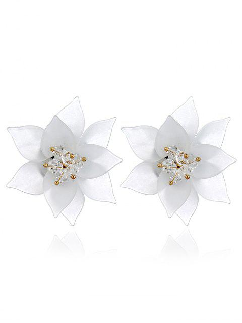 Acryl Blumenmuster Ohrstecker - Weiß  Mobile